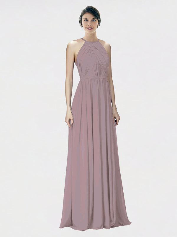Mila Queen Krystina Bridesmaid Dress Dusty Rose - A-Line Halter Long Bridesmaid Gown Krystina in Dusty Rose