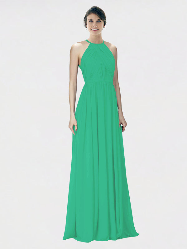 Mila Queen Krystina Bridesmaid Dress Emerald Green - A-Line Halter Long Bridesmaid Gown Krystina in Emerald Green