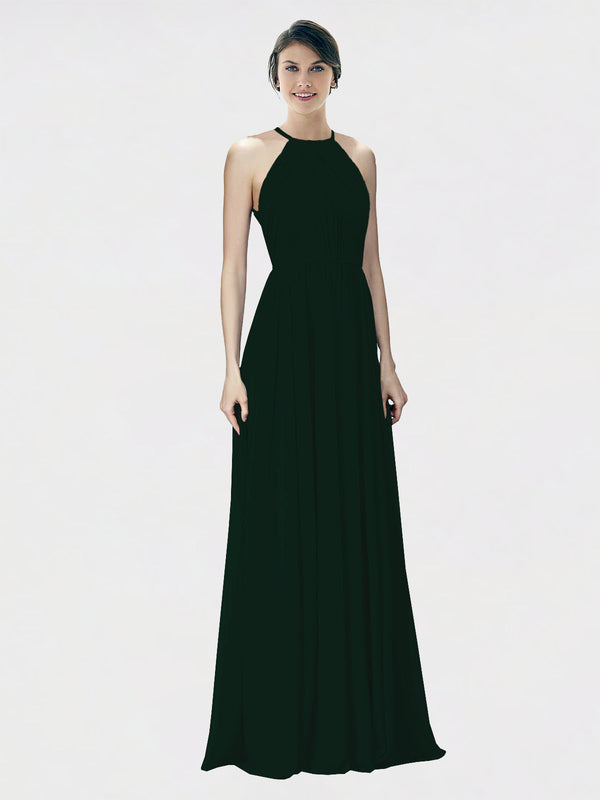 Mila Queen Krystina Bridesmaid Dress Ever Green - A-Line Halter Long Bridesmaid Gown Krystina in Ever Green