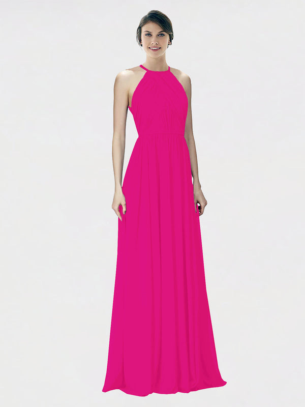 Mila Queen Krystina Bridesmaid Dress Fuchsia - A-Line Halter Long Bridesmaid Gown Krystina in Fuchsia