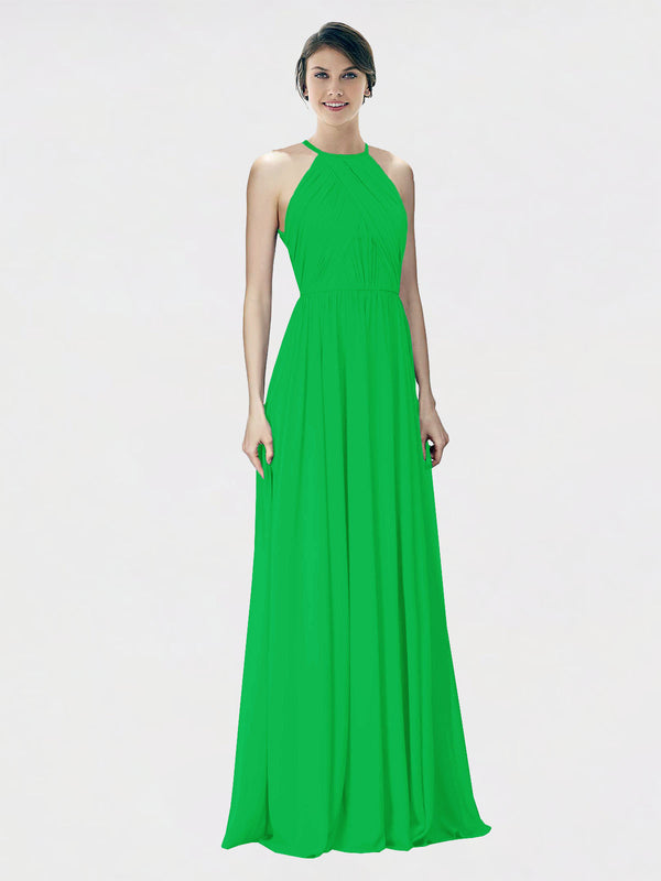 Mila Queen Krystina Bridesmaid Dress Green - A-Line Halter Long Bridesmaid Gown Krystina in Green