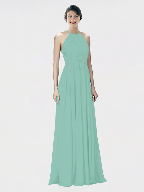Mila Queen Krystina Bridesmaid Dress Jade - A-Line Halter Long Bridesmaid Gown Krystina in Jade