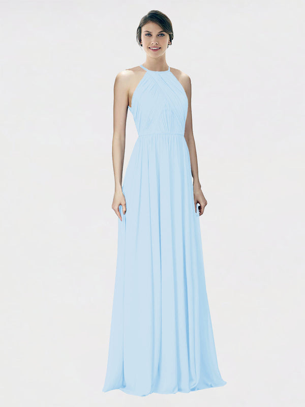Mila Queen Krystina Bridesmaid Dress Light Sky Blue - A-Line Halter Long Bridesmaid Gown Krystina in Light Sky Blue