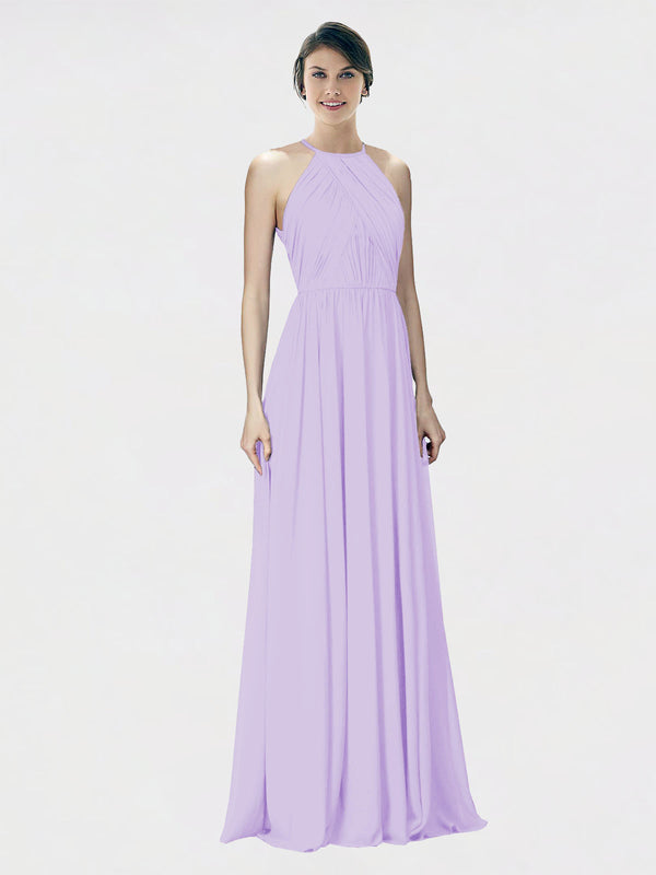 Mila Queen Krystina Bridesmaid Dress Lilac - A-Line Halter Long Bridesmaid Gown Krystina in Lilac