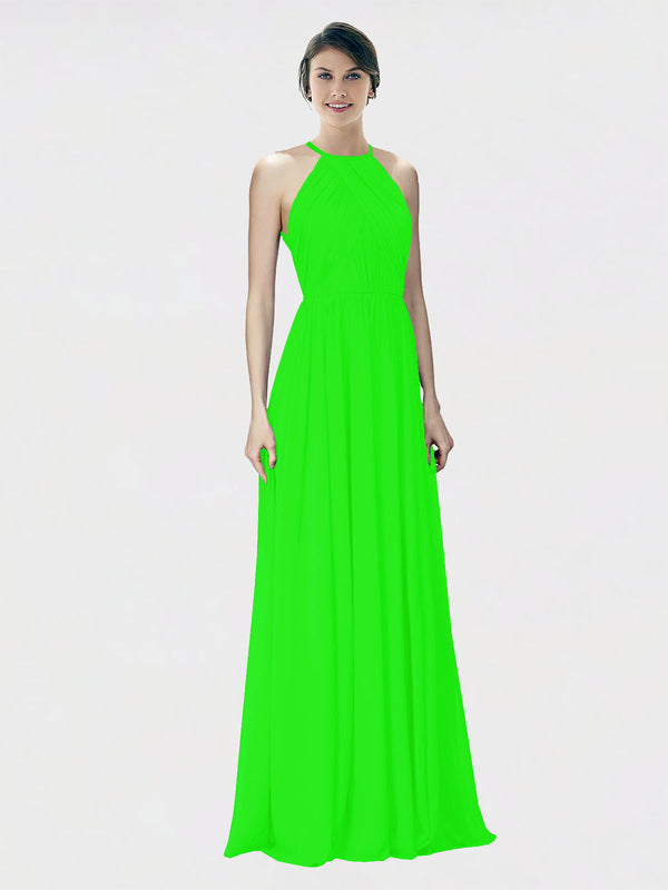 Mila Queen Krystina Bridesmaid Dress Lime Green - A-Line Halter Long Bridesmaid Gown Krystina in Lime Green