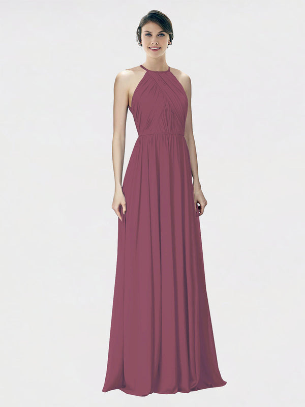 Mila Queen Krystina Bridesmaid Dress Mauve Taupe - A-Line Halter Long Bridesmaid Gown Krystina in Mauve Taupe