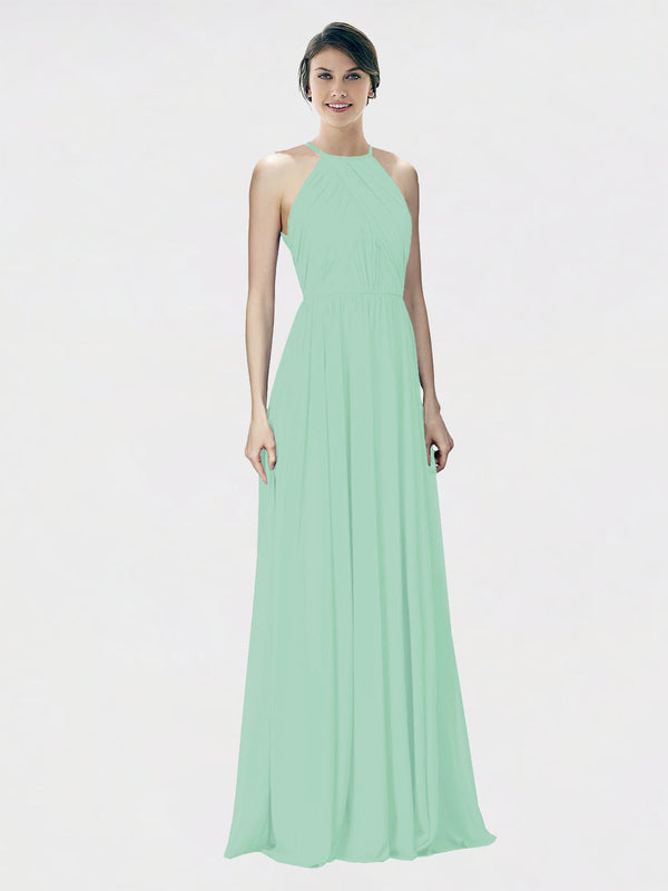 Mila Queen Krystina Bridesmaid Dress Mint Green - A-Line Halter Long Bridesmaid Gown Krystina in Mint Green