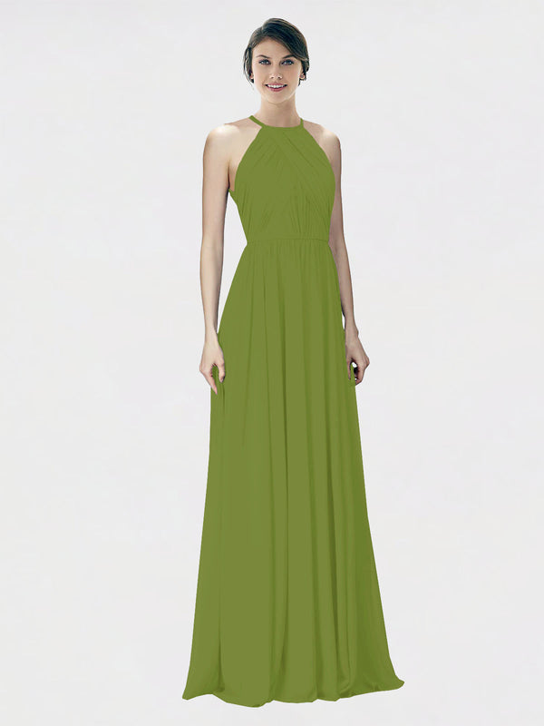 Mila Queen Krystina Bridesmaid Dress Olive Green - A-Line Halter Long Bridesmaid Gown Krystina in Olive Green