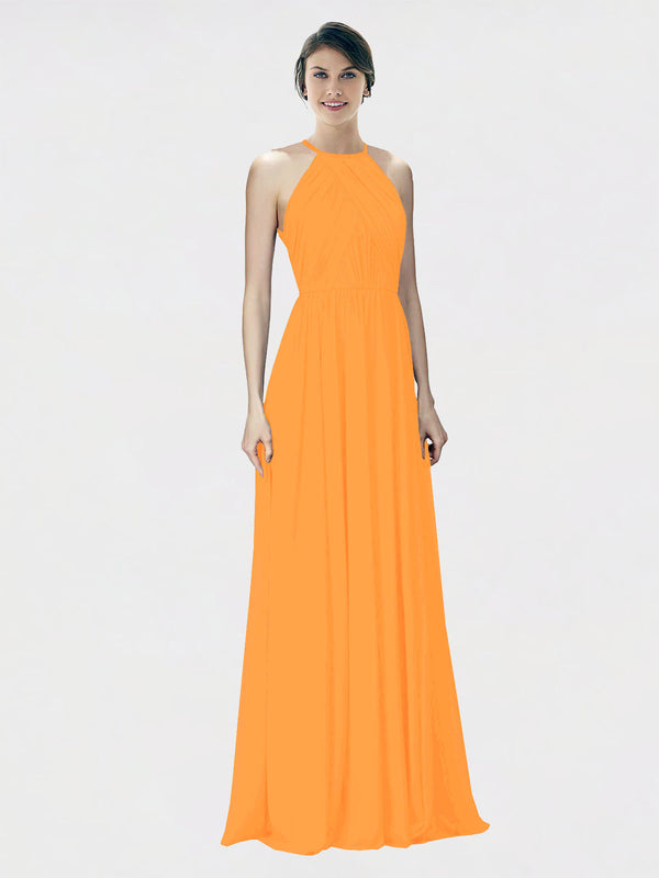 Mila Queen Krystina Bridesmaid Dress Orange - A-Line Halter Long Bridesmaid Gown Krystina in Orange