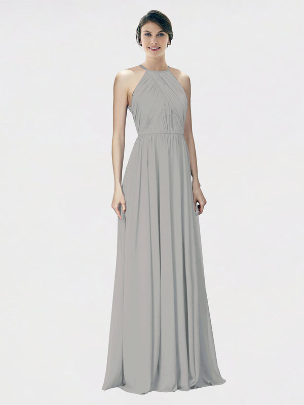 Mila Queen Krystina Bridesmaid Dress Oyster Silver - A-Line Halter Long Bridesmaid Gown Krystina in Oyster Silver