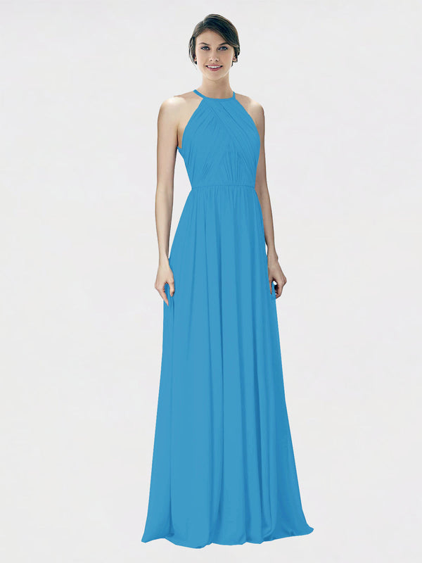 Mila Queen Krystina Bridesmaid Dress Peacock Blue - A-Line Halter Long Bridesmaid Gown Krystina in Peacock Blue