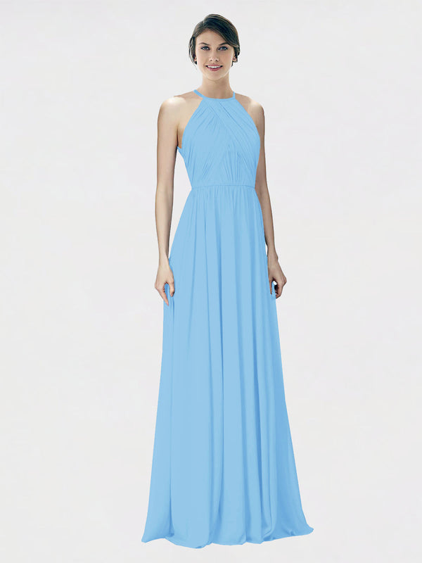 Mila Queen Krystina Bridesmaid Dress Periwinkle - A-Line Halter Long Bridesmaid Gown Krystina in Periwinkle