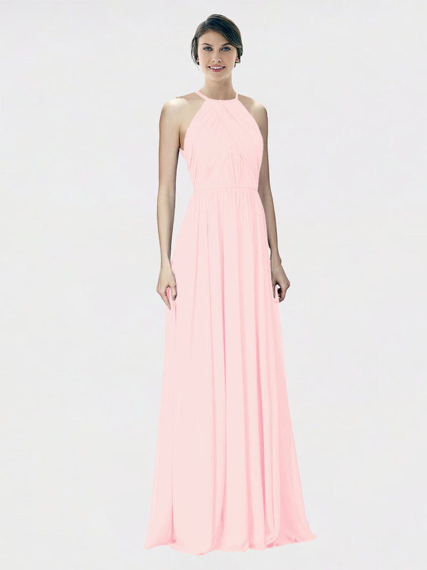 Mila Queen Krystina Bridesmaid Dress Pink - A-Line Halter Long Bridesmaid Gown Krystina in Pink
