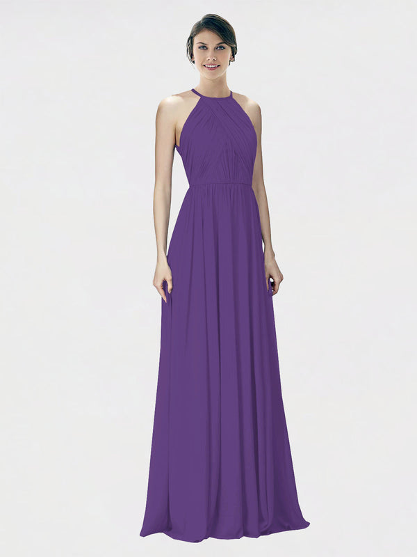 Mila Queen Krystina Bridesmaid Dress Plum Purple - A-Line Halter Long Bridesmaid Gown Krystina in Plum Purple
