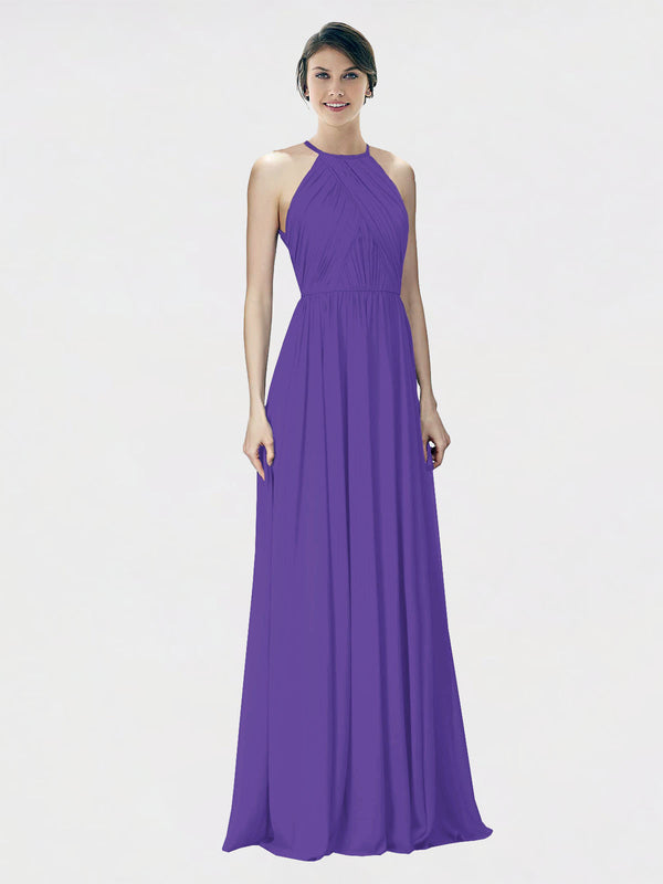 Mila Queen Krystina Bridesmaid Dress Purple - A-Line Halter Long Bridesmaid Gown Krystina in Purple