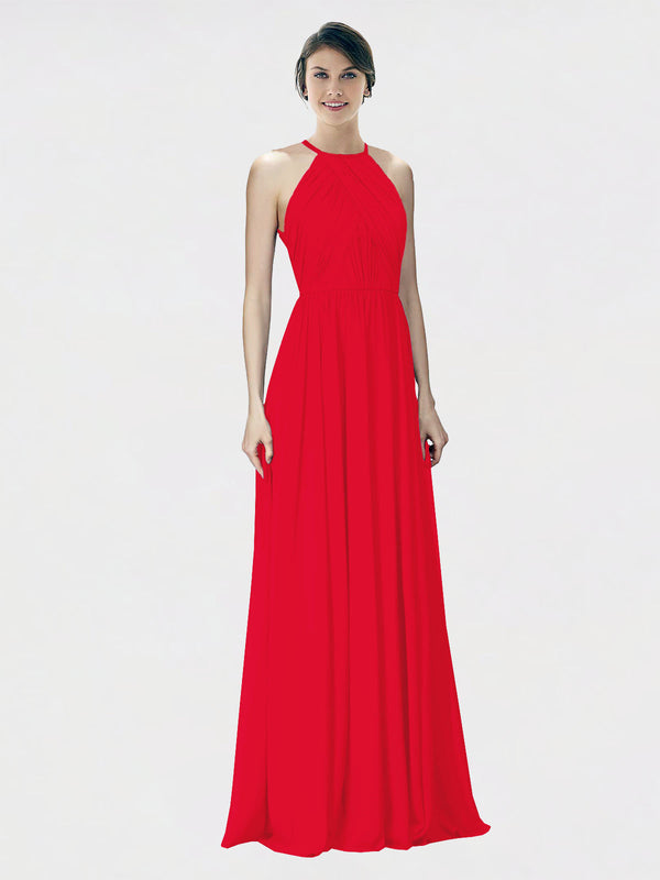 Mila Queen Krystina Bridesmaid Dress Red - A-Line Halter Long Bridesmaid Gown Krystina in Red