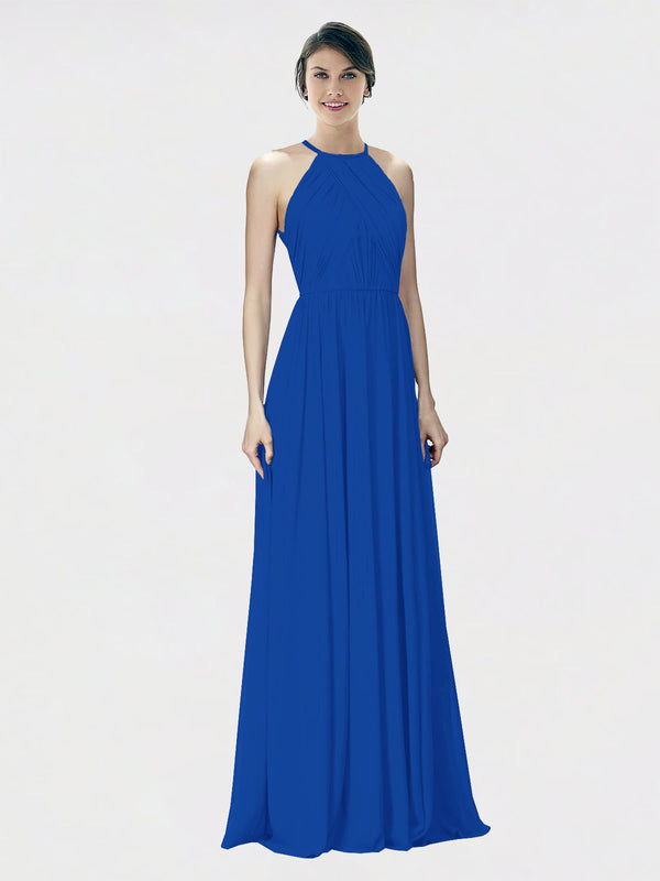 Mila Queen Krystina Bridesmaid Dress Royal Blue - A-Line Halter Long Bridesmaid Gown Krystina in Royal Blue