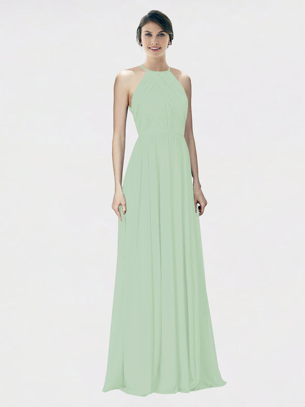 Mila Queen Krystina Bridesmaid Dress Sage - A-Line Halter Long Bridesmaid Gown Krystina in Sage