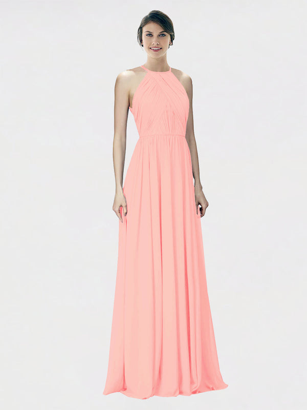 Mila Queen Krystina Bridesmaid Dress Salmon - A-Line Halter Long Bridesmaid Gown Krystina in Salmon