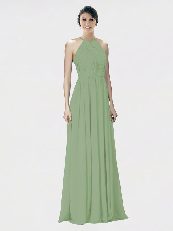 Mila Queen Krystina Bridesmaid Dress Seagrass - A-Line Halter Long Bridesmaid Gown Krystina in Seagrass