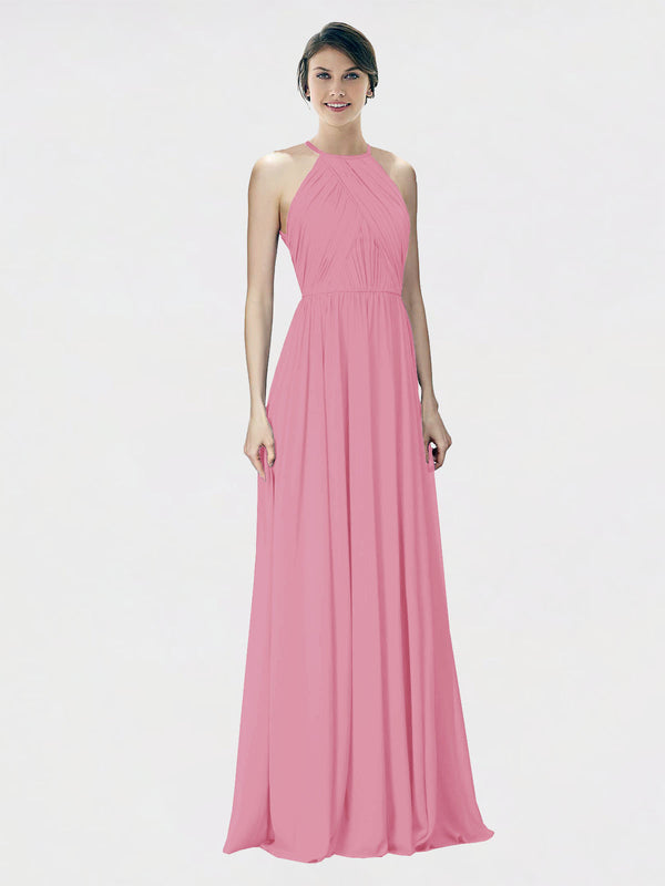 Mila Queen Krystina Bridesmaid Dress Skin Pink - A-Line Halter Long Bridesmaid Gown Krystina in Skin Pink