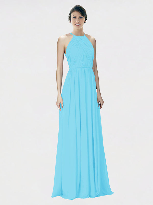 Mila Queen Krystina Bridesmaid Dress Sky Blue - A-Line Halter Long Bridesmaid Gown Krystina in Sky Blue