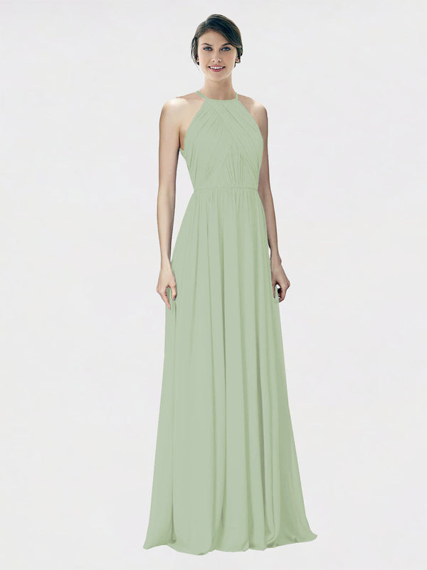 Mila Queen Krystina Bridesmaid Dress Smoke Green - A-Line Halter Long Bridesmaid Gown Krystina in Smoke Green