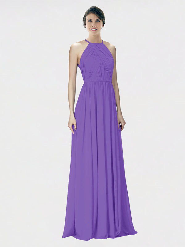 Mila Queen Krystina Bridesmaid Dress Tahiti - A-Line Halter Long Bridesmaid Gown Krystina in Tahiti