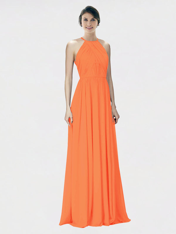 Mila Queen Krystina Bridesmaid Dress Tangerine Tango - A-Line Halter Long Bridesmaid Gown Krystina in Tangerine Tango