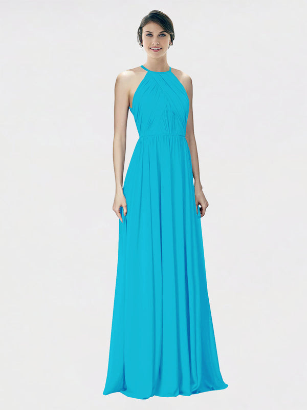 Mila Queen Krystina Bridesmaid Dress Turquoise - A-Line Halter Long Bridesmaid Gown Krystina in Turquoise