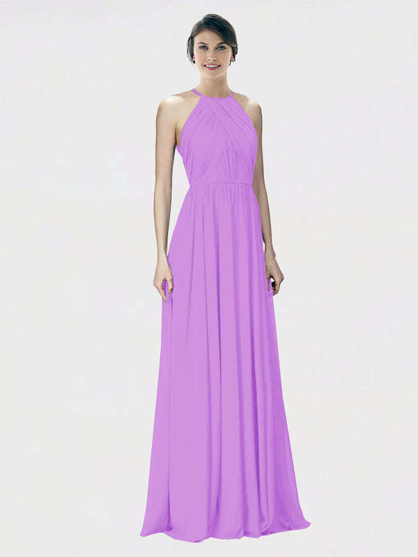 Mila Queen Krystina Bridesmaid Dress Violet - A-Line Halter Long Bridesmaid Gown Krystina in Violet