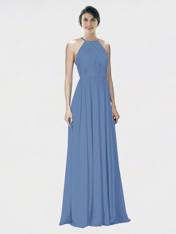 Mila Queen Krystina Bridesmaid Dress Windsor Blue - A-Line Halter Long Bridesmaid Gown Krystina in Windsor Blue