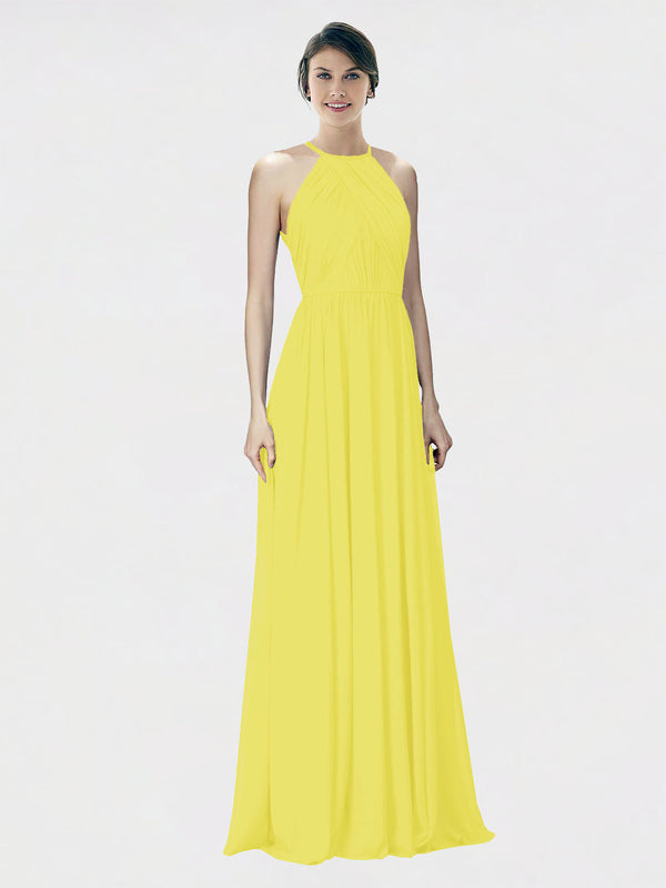 Mila Queen Krystina Bridesmaid Dress Yellow - A-Line Halter Long Bridesmaid Gown Krystina in Yellow
