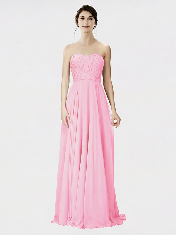 Mila Queen Danee Bridesmaid Dress Barely Pink - A-Line Strapless Long Bridesmaid Gown Danee in Barely Pink