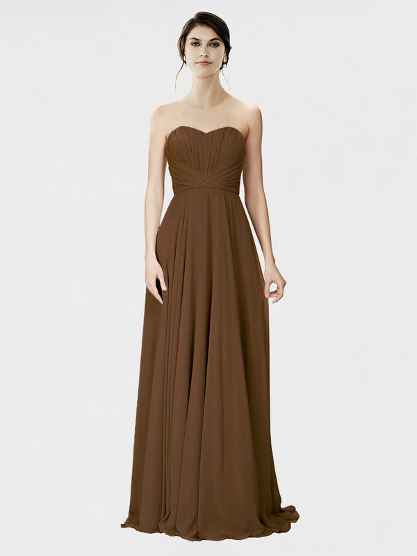 Mila Queen Danee Bridesmaid Dress Brown - A-Line Strapless Long Bridesmaid Gown Danee in Brown
