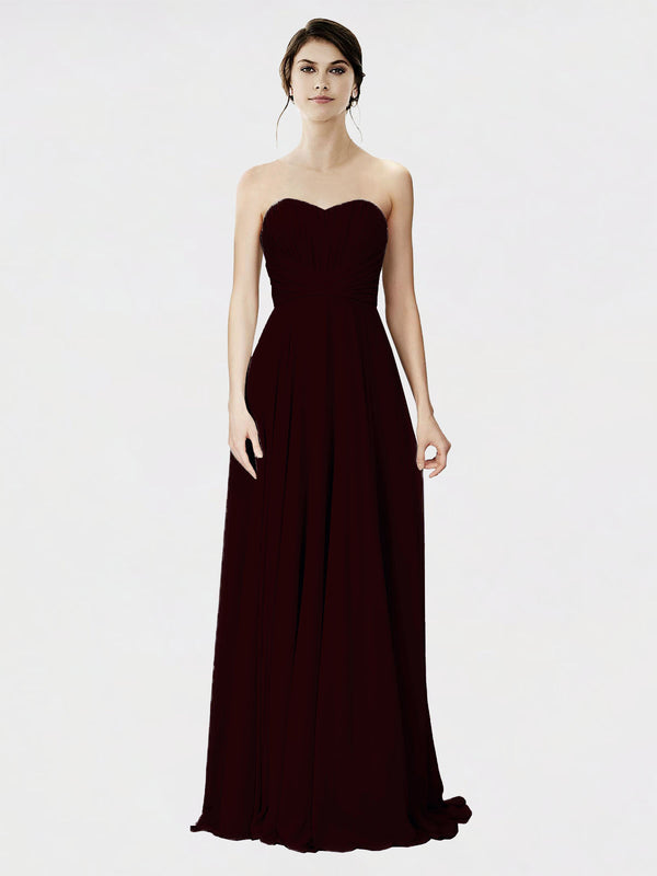 Mila Queen Danee Bridesmaid Dress Burgundy Gold - A-Line Strapless Long Bridesmaid Gown Danee in Burgundy Gold