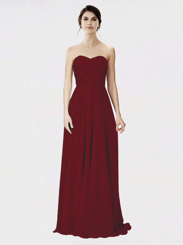 Mila Queen Danee Bridesmaid Dress Burgundy - A-Line Strapless Long Bridesmaid Gown Danee in Burgundy