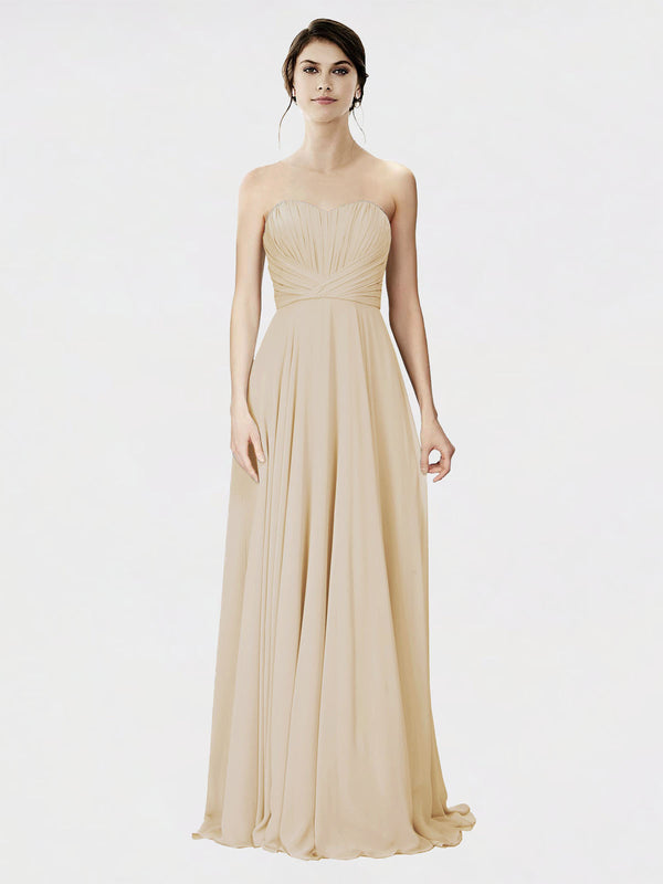 Mila Queen Danee Bridesmaid Dress Champagne - A-Line Strapless Long Bridesmaid Gown Danee in Champagne