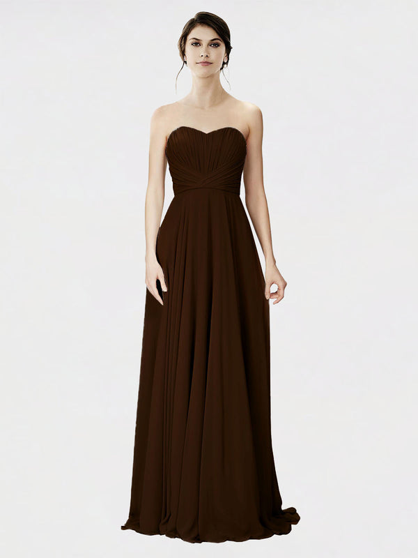 Mila Queen Danee Bridesmaid Dress Chocolate - A-Line Strapless Long Bridesmaid Gown Danee in Chocolate