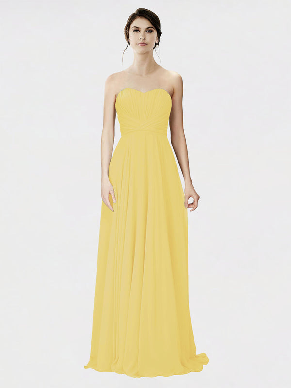 Mila Queen Danee Bridesmaid Dress Daffodil - A-Line Strapless Long Bridesmaid Gown Danee in Daffodil