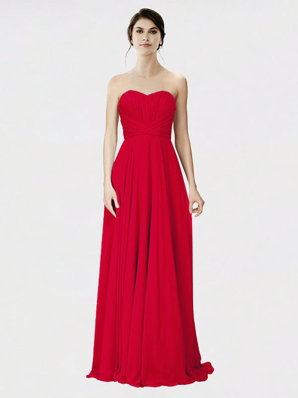 Mila Queen Danee Bridesmaid Dress Dark Red - A-Line Strapless Long Bridesmaid Gown Danee in Dark Red