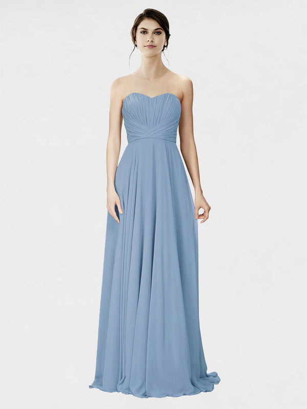 Mila Queen Danee Bridesmaid Dress Dusty Blue - A-Line Strapless Long Bridesmaid Gown Danee in Dusty Blue