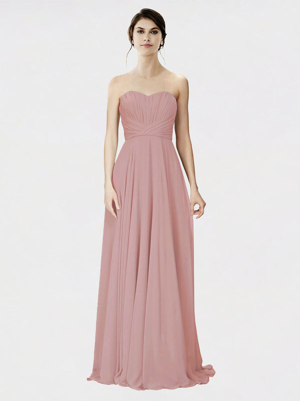 Mila Queen Danee Bridesmaid Dress Dusty Pink - A-Line Strapless Long Bridesmaid Gown Danee in Dusty Pink