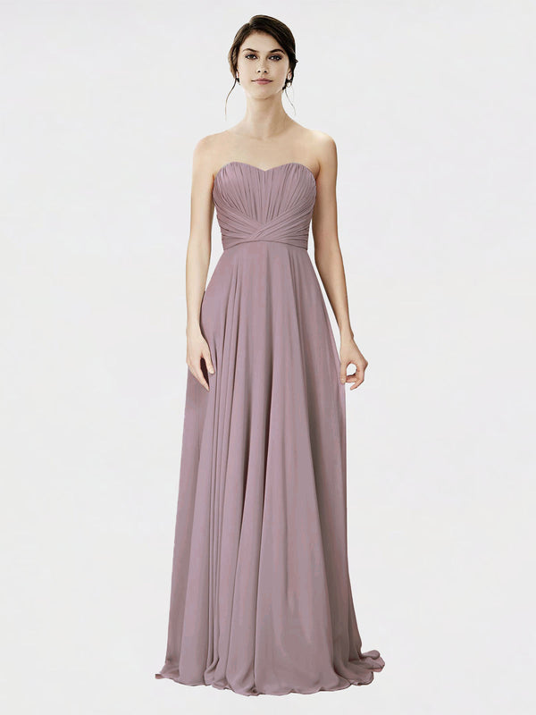 Mila Queen Danee Bridesmaid Dress Dusty Rose - A-Line Strapless Long Bridesmaid Gown Danee in Dusty Rose