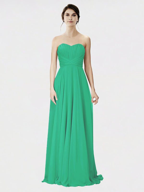 Mila Queen Danee Bridesmaid Dress Emerald Green - A-Line Strapless Long Bridesmaid Gown Danee in Emerald Green