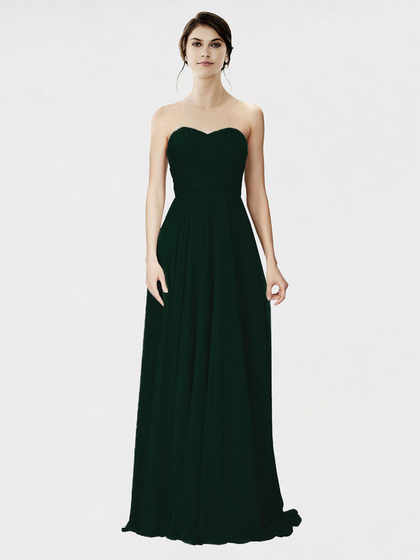 Mila Queen Danee Bridesmaid Dress Ever Green - A-Line Strapless Long Bridesmaid Gown Danee in Ever Green