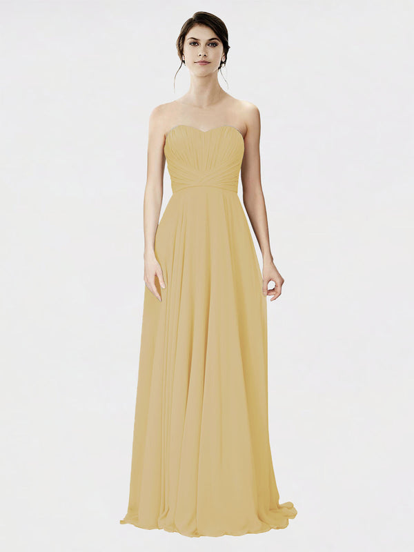Mila Queen Danee Bridesmaid Dress Gold - A-Line Strapless Long Bridesmaid Gown Danee in Gold