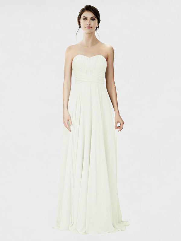 Mila Queen Danee Bridesmaid Dress Ivory - A-Line Strapless Long Bridesmaid Gown Danee in Ivory