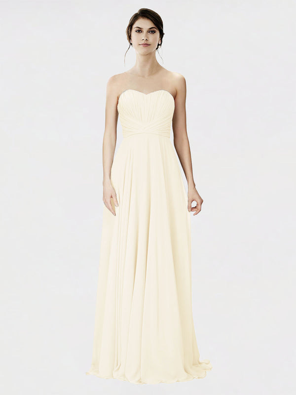 Mila Queen Danee Bridesmaid Dress Light Champagne - A-Line Strapless Long Bridesmaid Gown Danee in Light Champagne