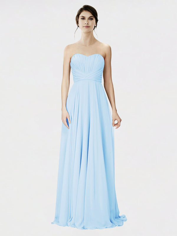 Mila Queen Danee Bridesmaid Dress Light Sky Blue - A-Line Strapless Long Bridesmaid Gown Danee in Light Sky Blue